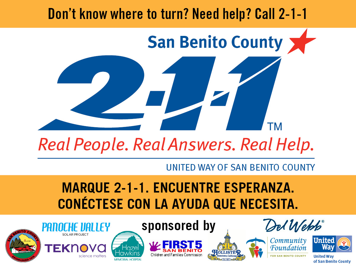 Call 2-1-1 for help.